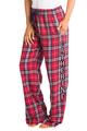 zynotti Women's Custom Print navy red Flannel plaid Pajama lounge sleepwear Pants
