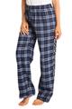 zynotti Women's Custom Print navy Flannel plaid Pajama lounge sleepwear Pants