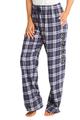 zynotti Women's Custom Print navy silver Flannel plaid Pajama lounge sleepwear Pants
