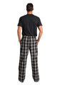 Zynotti hubby matching couple black and white flannel plaid pajama lounge sleepwear pants with hubby black crewneck tee shirt top