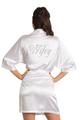 Zynotti's Rhinestone Wifey Satin Robe in White