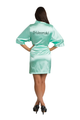 Zynotti Custom Embroidered Bridesmaid Mint Satin Robe