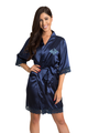 Zynotti's Matching Lace Monogram Satin Robe in Navy