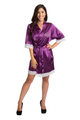 Zynotti's White Lace Monogram Satin Robe in Plum