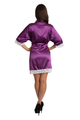 Zynotti's White Lace Wedding Party Satin Robe in Plum