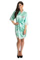 Zynotti's Matching Lace Monogram Satin Robe in Mint