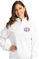 Zynotti Women's Personalized Custom Embroidered Monogram Quarter Zip White Pullover Sweater