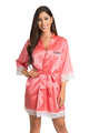 Zynotti's Personalized Embroidered Satin Lace Robe in Coral