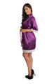 Zynotti's Wedding Party Satin Lace Robe in Plum