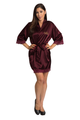 Zynotti's Personalized Embroidered Satin Lace Robe in Plum