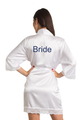 Zynotti Custom Glitter Print Bride White Satin Robe with White Lace Trim