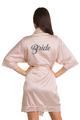 Zynotti Custom Glitter Print Bride Blush Pink Satin Robe with Blush Pink Lace Trim