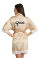 Zynotti Custom Glitter Print Bride Champagne Satin Robe with White Lace Trim