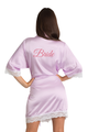 Zynotti Custom Glitter Print Bride Lavender Satin Robe with White Lace Trim