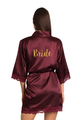 Zynotti Custom Glitter Print Bride Wine Burgundy Satin Robe with Wine Burgundy Lace Trim