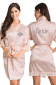 Zynotti Personalized Embroidered Monogram Bride Blush Pink Lace Satin Robe