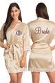 Zynotti Personalized Embroidered Monogram Bride Champagne Gold Lace Satin Robe