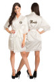 Zynotti Personalized Embroidered Monogram Bride White Lace Satin Robe