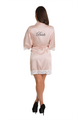 Zynotti Personalized Embroidered Bride Blush Pink Lace Satin Robe