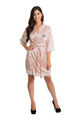 Zynotti Personalized Embroidered Monogram Blush Pink Lace Satin Robe