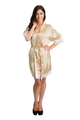 Zynotti Embroidered Matron of Honor Champagne Satin Robe with White Lace Trim