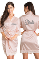 Zynotti Personalized Embroidered Bride Blush Satin Robe with Blush Lace trim