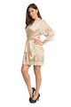Champagne Gold Lace Trimmed Satin Robe