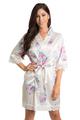 Zynotti off white floral lace satin kimono robe