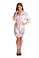 Zynotti pink floral lace trimmed satin kimono robe