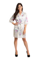 Off white floral lace satin robe