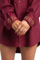 Zynotti personalized embroidered oversized burgundy oxford long sleeve shirt
