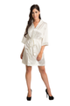 Zynotti Ivory Beige Off-White Satin Robe