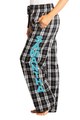 Zynotti personalized custom print black and white plaid flannel pajama pants