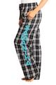 Zynotti personalized custom print black and white plaid flannel pajama pants