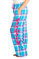 Zynotti personalized custom print blue and pink plaid flannel pajama pants