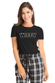Zynotti wifey matching couple black and white flannel plaid pajama lounge sleepwear pants with wifey black crewneck tee shirt top
