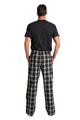 Zynotti Groom matching black and white flannel plaid pajama lounge sleepwear pants with Groom black crewneck tee shirt top