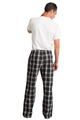 Zynotti men's personalized custom embroidered monogram black and white plaid flannel pajama lounge sleepwear pants