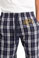 Zynotti men's personalized custom embroidered monogram navy silver plaid flannel pajama lounge sleepwear pants