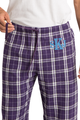 Zynotti men's personalized custom embroidered monogram purple white plaid flannel pajama lounge sleepwear pants