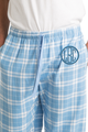 Zynotti men's personalized custom embroidered monogram sky blue plaid flannel pajama lounge sleepwear pants