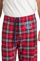Zynotti men's personalized custom embroidered monogram red navy plaid flannel pajama lounge sleepwear pants