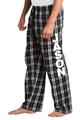 Zynotti personalized custom print black and white plaid flannel pajama lounge sleepwear pants