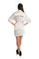 Zynotti's Personalized Embroidered Mrs. Ivory Off-White Beige Satin Robe
