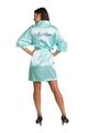 Zynotti Personalized Embroidered Mrs. Satin Robe in Aqua Tiffany Blue
