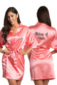 Personalized Embroidered Matron of Honor Satin Kimono Robe