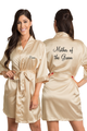 Personalized Embroidered Mother of the Groom Satin Kimono Robe