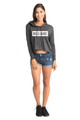 Zynotti Boss Babe Charcoal Grey Cropped hoodie