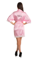Zynotti's Personalized Embroidered Satin Lace Robe in Pink