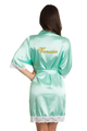 Zynotti's Personalized Embroidered Satin Lace Robe in Mint